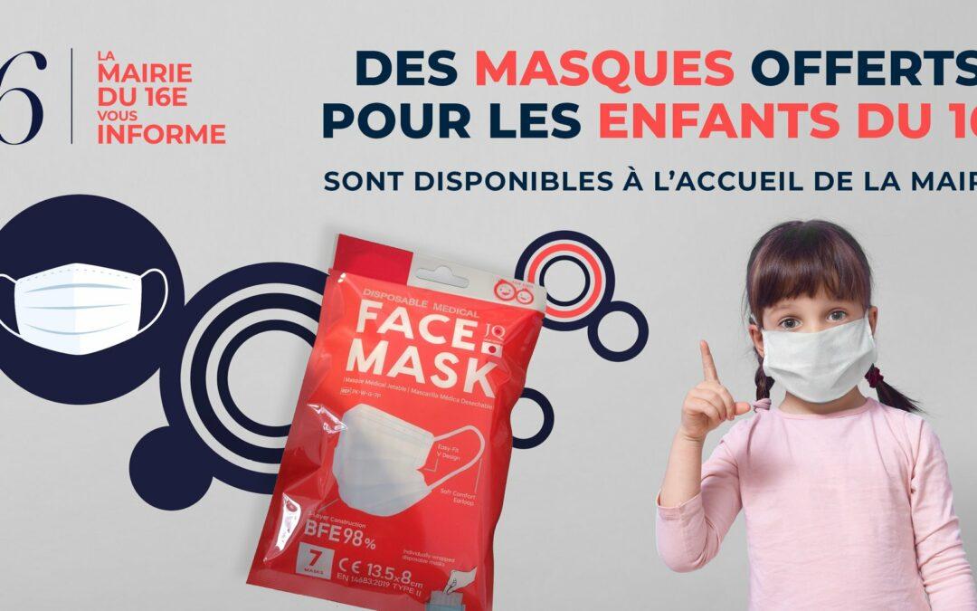 Masques distribués par la Mairie du 16e pour les enfants